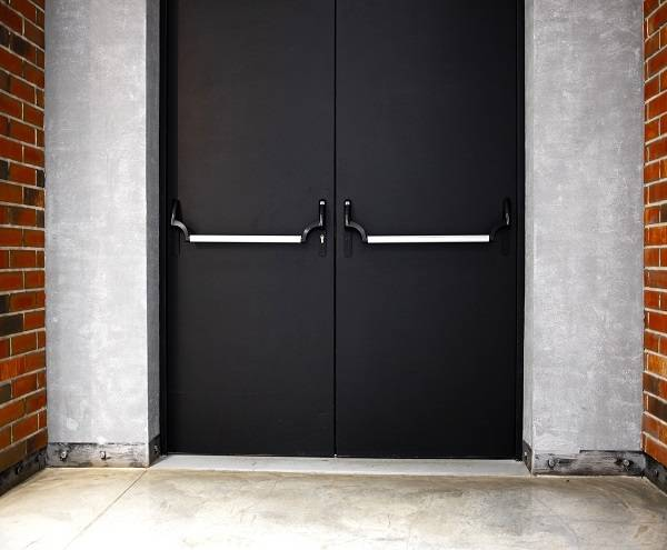 Double steel emergency exit black door with panic bar